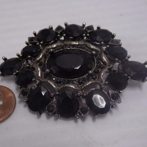 Plastic Black Silvertone Brooch- Possible Mourning